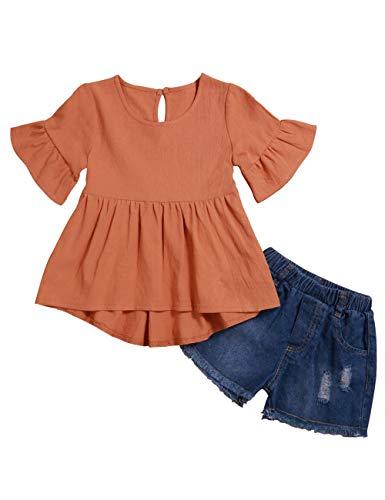 Lankey Girl Clothes Little Kids Short Sets Cotton Casual Coat Jeans 2 Pcs Pants Sets (Orange, 6-7T)