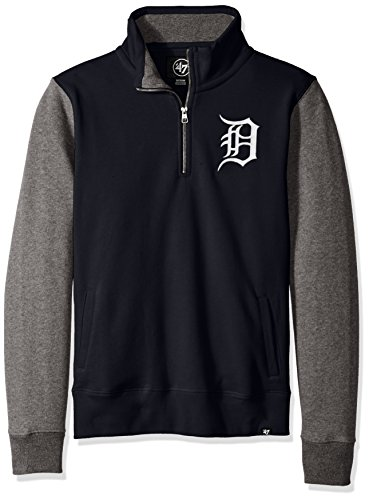 Detroit Tigers Pullover Jacket - '47 MLB Detroit Tigers Men's Triple Coverage 1/4-Zip Pullover Fleece, Small, Fall Navy
