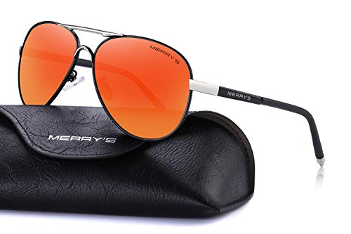 MERRY'S Men's Polarized Driving Sunglasses For Men Unbreakable Frame UV400 S8513 (Red Mirror, 61) ()