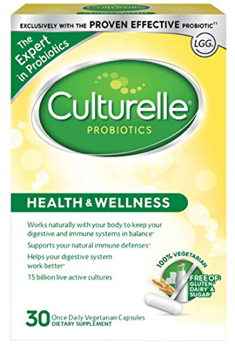 Culturelle Health & Wellness Daily Probiotic Dietary Supplement | Restores Natural Balance of Good Bacteria in Digestive Tract* | With the Proven Effective Probiotic† | 30 Vegetarian Capsules Culturelle Probiotic Dietary Supplement Capsules