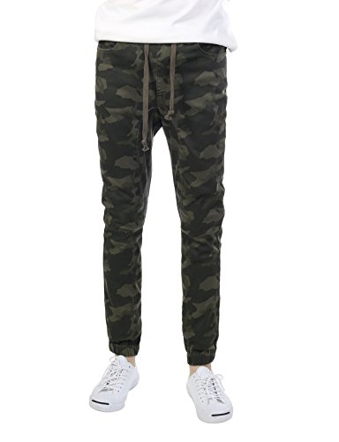 JD Apparel Mens Slim Straight Joggers 4XL Olive Camouflage