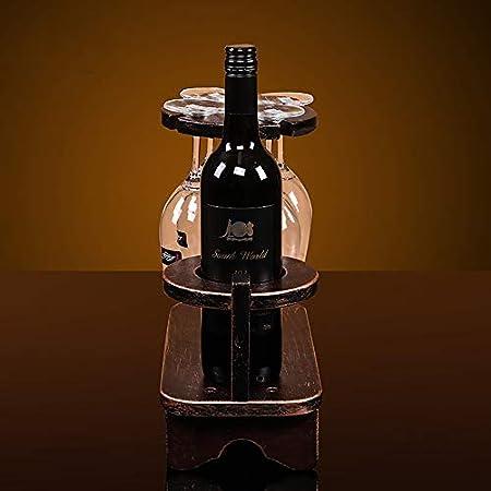 Hyl Estante de Vino Colgante Vintage Retro,Portabotellas Vinoteca Porta Botellas de Vino 2 en 1 Restaurante, Bares vinoteca Cocina,DecoracióN Caseras Modernas Interior Navidad Regalo etc(Rojo)