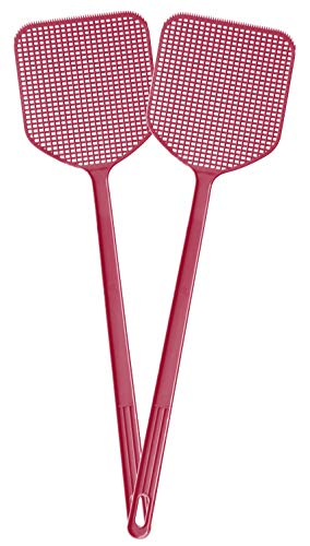 Grand Way Fly swatter - Strong one-Piece Plastic Fly swatter - Long-Hand mesh Fly swatter - red Fly swatter - 2-Pack Manual swat Fly Control swatter - Fly Killer and Catcher, 158462