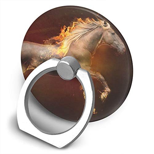 (Multi-Function 360 Degree Rotating Phone Finger Ring Stand Fire Horse Grip Mounts Holder for iPhone Smartphones Tablet)