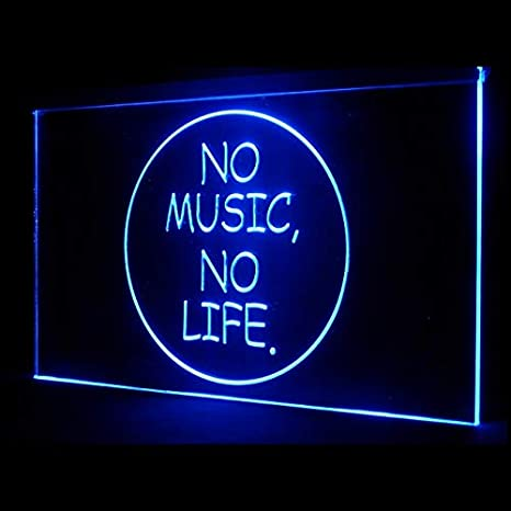 Amazon.com: 140019 No Music No Life - Cartel de luz LED con ...
