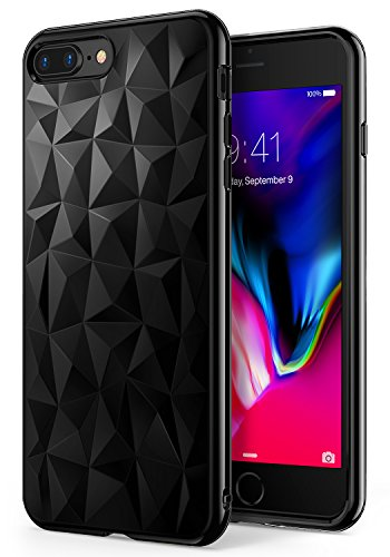 Apple iPhone 7 Plus / iPhone 8 Plus Case, Ringke [AIR PRISM] 3D Vogue Design Chic Ultra Rad Pyramid Stylish Diamond Pattern Jewel-Like Textured Protective TPU Drop Resistant Cover – Ink Black