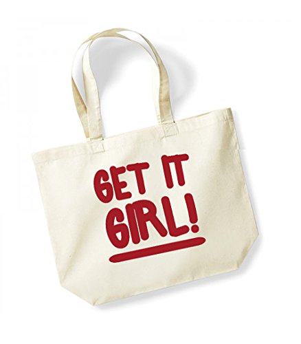 Girl Canvas Bag Slogan Large red It Tote Fun Get Natural 5U0qawx0