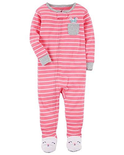 Carter's Girls' 12 Months-5T One Piece Cotton Pajamas (5T, Pink/Stripe)