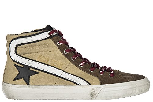 Golden Goose Chaussures Baskets Sneakers Hautes Homme en Cuir Slide l3 Marron