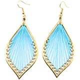 EIKdoulf02 Bohemian Earring Thread Hollow Leaf Shape Dangle Hook Earrings Party Jewelry for Women Girls Valentines Day Christmas Birthday Anniversaries Gift- Blue