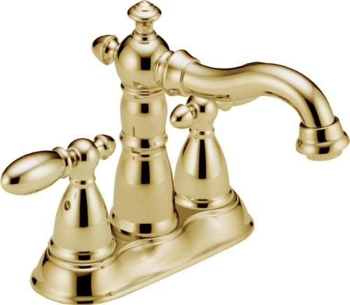 2 Bathroom Faucet Chrome (Delta 2555LFPB-216PB Victorian Two Handle Centerset Bathroom Faucet, Polished Brass)