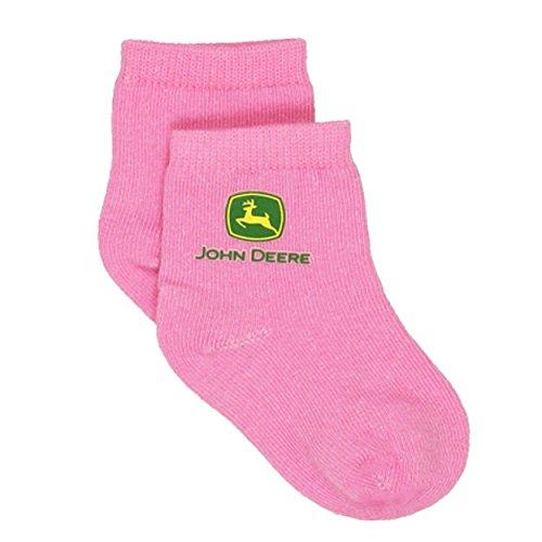 John Deere Baby Girls 5 pack Crew Socks (12-24 Months, Cowgirl Farm Pink)