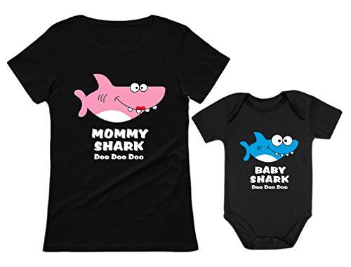 Baby Shark & Mommy Shark Doo Doo Doo T-Shirt Bodysuit Set for Mother and Baby Mommy Black Medium/Baby Black 24M (18-24M) ()