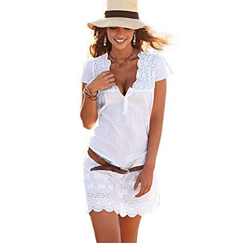 - Sunhusing Ladies Sexy Deep V-Neck Solid Color Short-Sleeve Lace Hook Flower Hem Mini Short Dress White