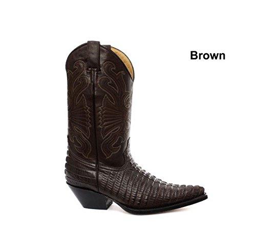 Stivali Texani a Punta da Uomo in Vera Pelle Effetto Coccodrilo Stile Cowboy marrone