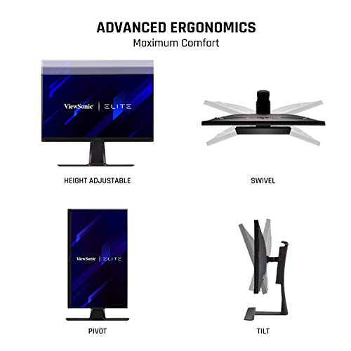 """ViewSonic ELITE XG270 27"""" 1080p 1ms 240Hz IPS G-SYNC Compatible Gaming Monitor with Elite Design Enhancements and Advanced Ergonomics for Esports"""