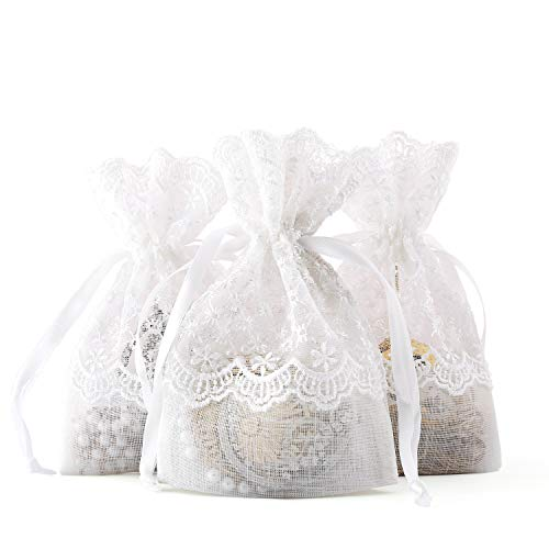 WRAPAHOLIC 4x5.5 inch 50 pcs Lace Drawstring Gift Bag - Elegant Lace Floral Design Wedding Party Welcome Favor Bags
