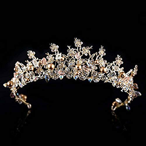 CanB Gold Bride Wedding Queen Flower Crowns and Tiaras with Earrings Baroque Bridal Hair Accessories Set for Women]()