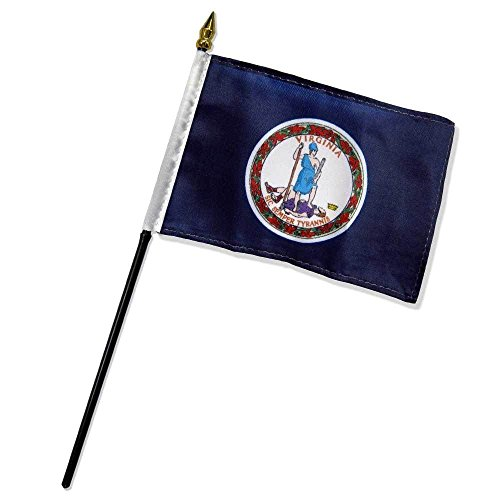 ALBATROS Virginia State Flag 4 inch x 6 inch with Stick for Desk Table for Home and Parades, Official Party, All Weather Indoors Outdoors