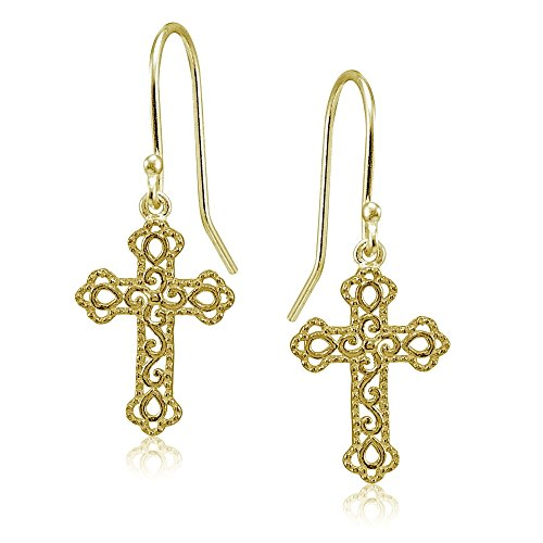 Gold Polished Cross Dangle - Yellow Gold Flashed Sterling Silver High Polished Filigree Cross Bottony Dangle Earrings
