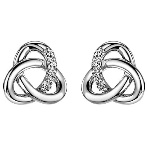 Neoglory Cubic Zirconia Platinum-plated Celtic knot Stud earrings Women (Platinum Love Knot Earrings)