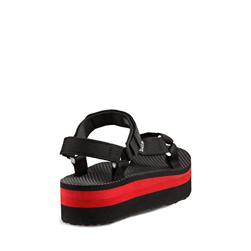 Teva Femmes Flatform Sandales Universel Noir / Rouge