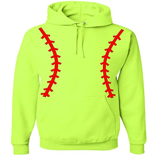 (Softball Pullover Hooded Sweatshirt (Unisex Adult Hoodie) - Neon Safety Green / Red (MEDIUM (Unisex Adult Sizing)))