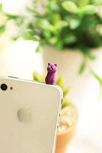 ZOEAST Silicone Owl Ninja White Bear Penguin Cat Duck Dust Plug 3.5mm Phone Headphone Jack Earphone Cap Ear Cap Dust Plug Charm iPhone 4 4S 5 5S SE 6 6S Plus HTC Samsung IPad IPod etc. (Purple Cat)