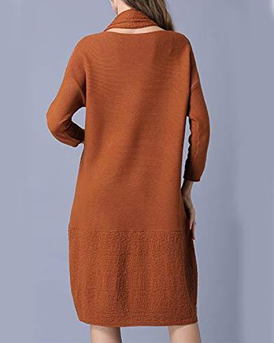 Vestido Manga Suéter Larga Bufanda Size Con Size One Las De Mujeres Haxibkena Caramel Costura color d4EwcXIxdq