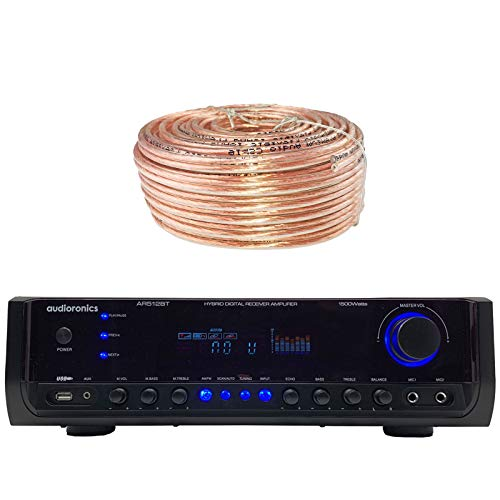 Audioronics AR512BT Digital Spectrum Built In Wireless Audio Streaming Integrated Amplifier  Pre-Amp Stereo Receiver w/ 1500 Watts Peak Power, Bundle Combo with Enrock 100 ft 18g Speaker Wire