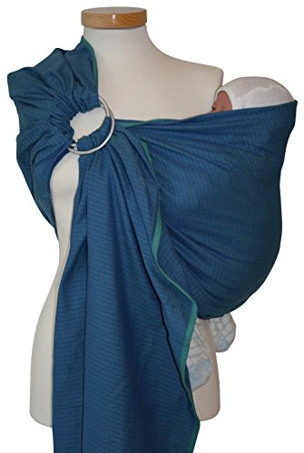 Storchenwiege Ring Sling Woven Cotton Baby Carrier From Germany (Leo Pattern) (Leo turquoise)