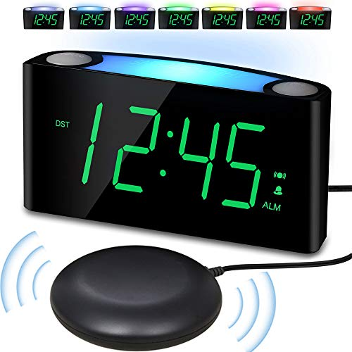 Vibrating Loud Alarm Clock with Bed Shaker for Heavy Sleepers Deaf Senior Kids, Large Number LED Display with Dimmer|Night Light|USB Phone Charger|12/24H, Easy to Set Digital Bedroom Desk Travel Clock