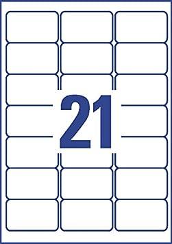 J8159-25 Etichette Quick Dry Avery Zweckform 24 Etichette per Foglio 63.5X33.9 25 Fogli