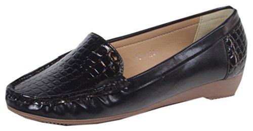 Ocala - Damen Lack Balerinas Mokassins mit Croco Prägung Schuhe Slipper Büro Business Cocktail UNI Farben 36 37 38 39 40 41 Schwarz