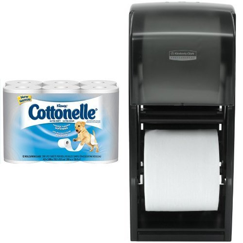 Kimberly-Clark Professional Double Roll Tissue Dispenser With 48-Pack Kleenex Cottonelle Ultra Soft Standard Roll Bathroom Tissue Refill Bundle Kleenex Ultra Toilet Roll