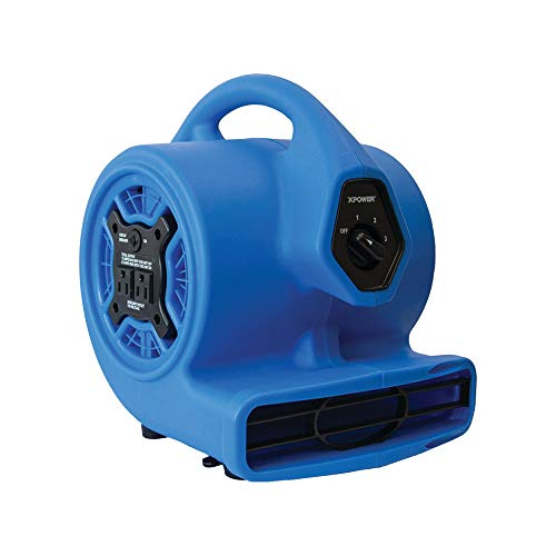 An Item of XPOWER P-100A 3-Speed Mini Air Mover/Floor Dryer/Utility Blower Fan w/Built-In Power Outlets - Pack of 1