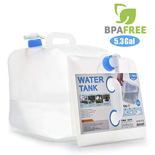 ITRAZ BPA Free Collapsible Water Container,Portable Water Carrier Bag,Water Outdoor Storage RV Camping Hiking Climbing Picnic BBQ Outdoors Emergencies (1.25 Gallon/2.5 Gallon/5 ()