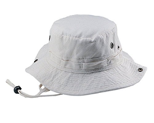 Mega Cap Wholesale Washed Cotton Fishing Hunting Hiking Outdoor Bucket Hat w/Chin Cord (Nature, Size M) - 21250