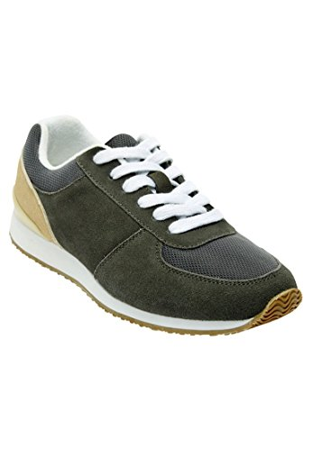 Woman Within Women's Wide Hannah Cow Suede Leather Sneaker Grey,9 1/2 Ww