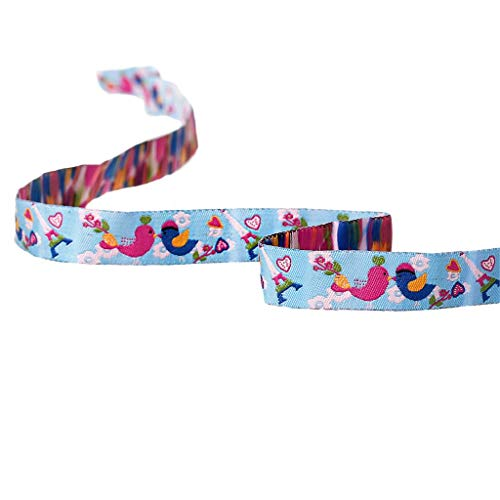 Jammas Terylene Single Face Ribbons Woven Labels Sewing & Fabric Supply Multicolor Bird & Flower Embroidered 16mm, 1.8m ()