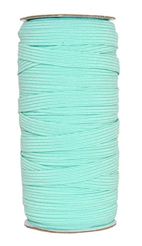 Mandala Crafts Flat Elastic Band, Braided Stretch Strap Cord Roll for Sewing and Crafting (3/8 Inch 10mm 50 Yards, Turquoise)