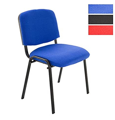 Sedie Ufficio Impilabili.Set Di 6 Sedie Attesa Ufficio Sala Conferenze Comode Impilabili In Tessuto Blu