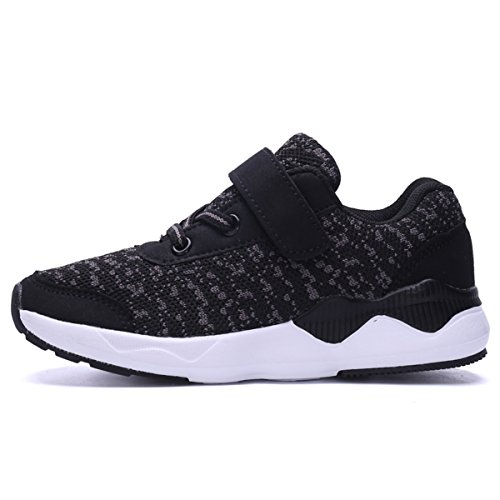 Image of Ukris Kids Lightweight Breathable Sneakers Easy Walk Casual Sport Shoes for Boys Girls(EU 32,A-Black)