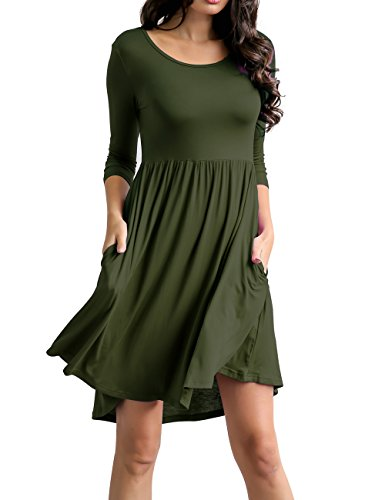 Traleubie Women's Plain 3/4 Sleeve Pockets Pleated Loose Swing Casual Mini Dress Army Green M