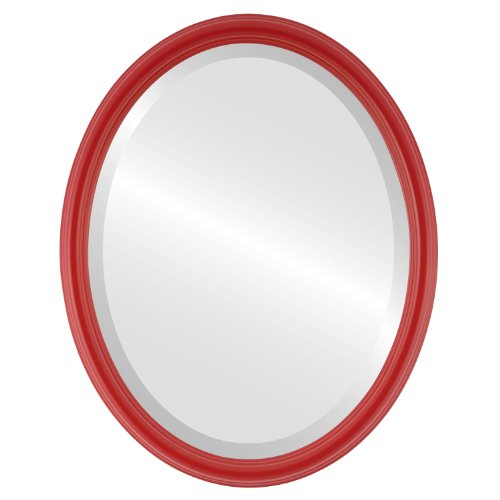 Oval Beveled Wall Mirror for Home Decor - Saratoga Style - Holiday Red - 20x26 outside dimensions