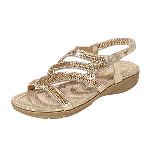 - Women Flat Wedge Sandals Casual Bohemia Ankle Wrap Open Toe Crystal Shoes (US : 8.5, Gold)