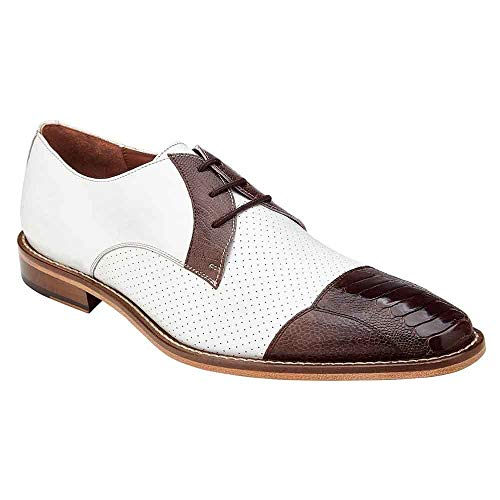 Belvedere Monaco Brown & White Genuine Ostrich and Italian Calf Men's Cap Toe Shoes - 11