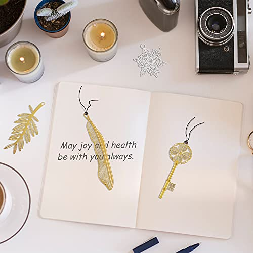 CHolic Metal Bookmark, 4 PCS Bookmarks with Leather String, 18K Gold Plated, Feather Key Palm Tree and Snowflake Design for Book Lovers, Kids, Women