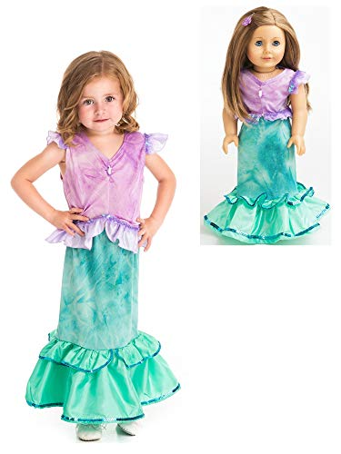 Little Adventures Magical Mermaid Princess Dress Up Costume & Matching Doll Dress (X-Large Age 7-9)]()
