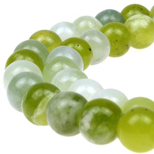 RTCBEADS Round Russian Jade Gemstone Beads Energy Stone Healing Power for Jewelry Making (8mm) ()